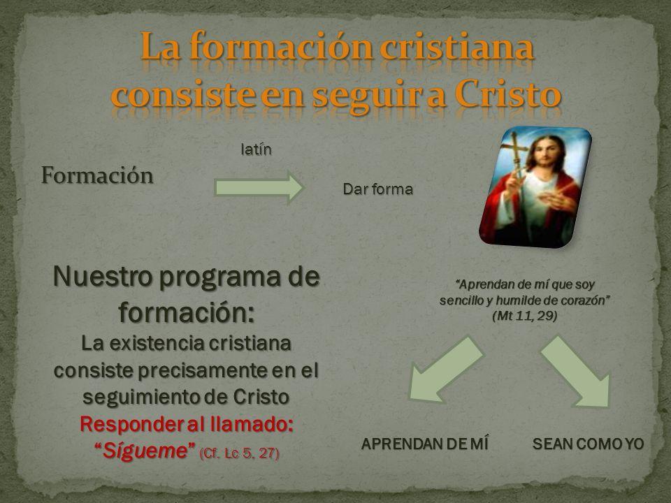 La formación cristiana consiste en seguir a Cristo