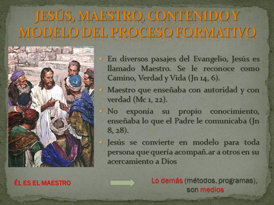 JESÚS, MAESTRO, CONTENIDO Y MODELO DEL PROCESO FORMATIVO