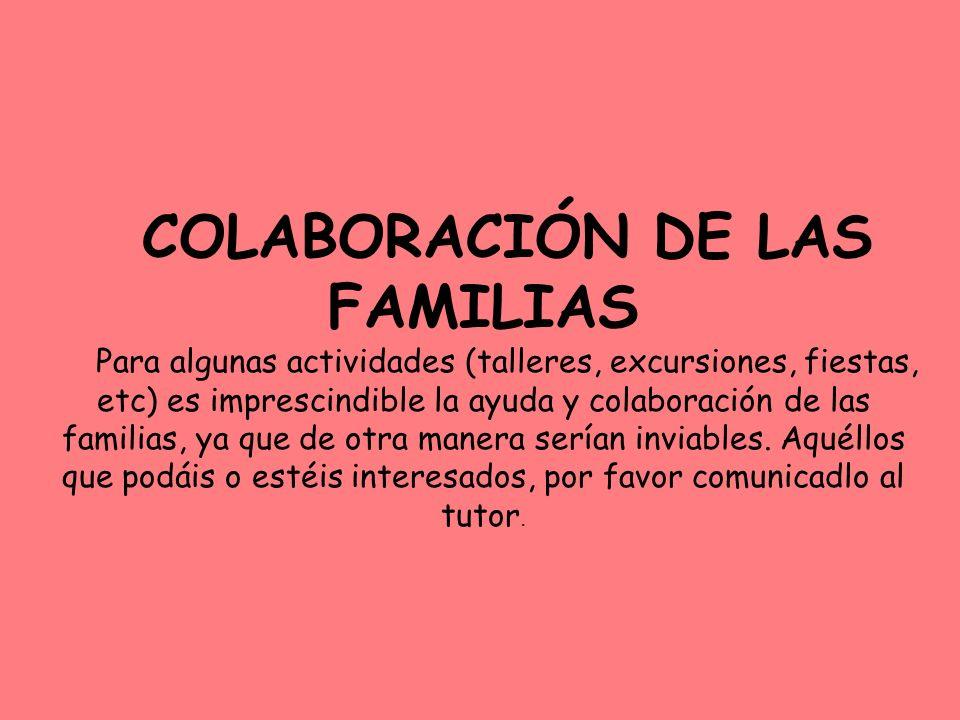 COLABORACIÓN DE LAS FAMILIAS