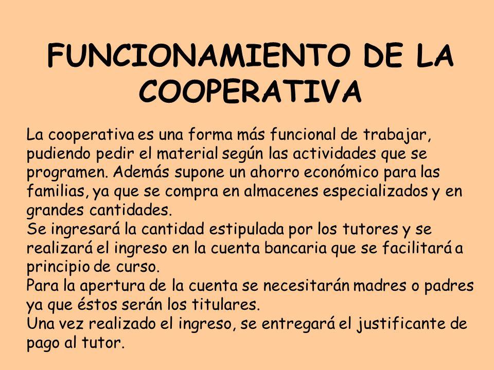 FUNCIONAMIENTO DE LA COOPERATIVA
