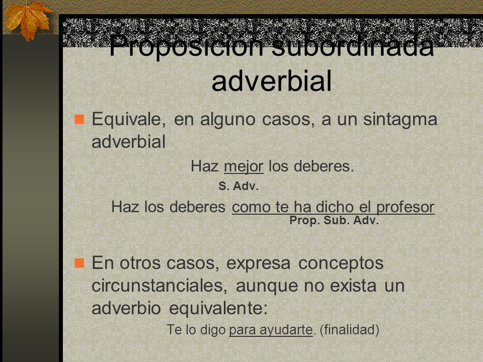 Proposición subordinada adverbial