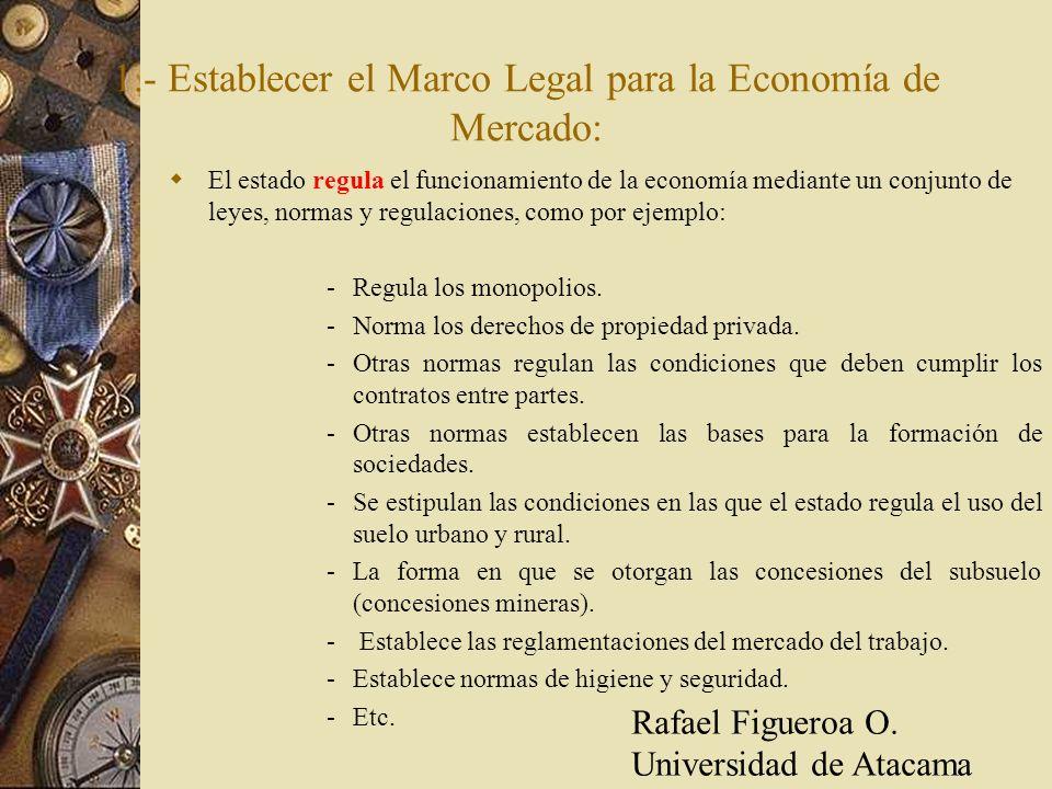 1.- Establecer el Marco Legal para la Economía de Mercado: