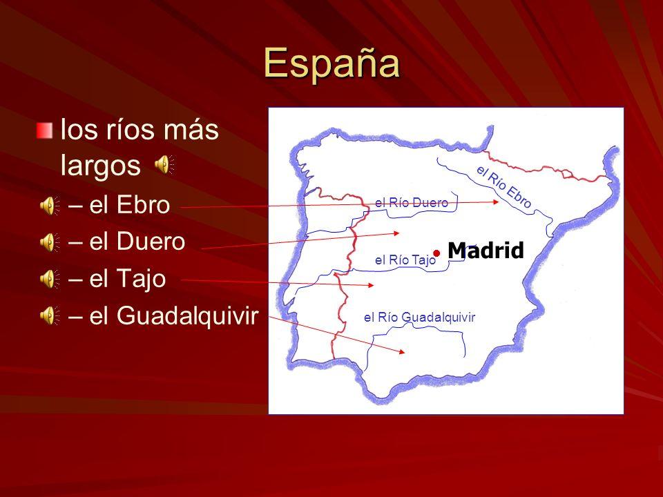 España los ríos más largos el Ebro el Duero el Tajo el Guadalquivir