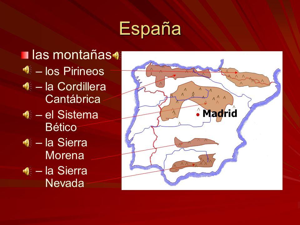 España las montañas los Pirineos la Cordillera Cantábrica