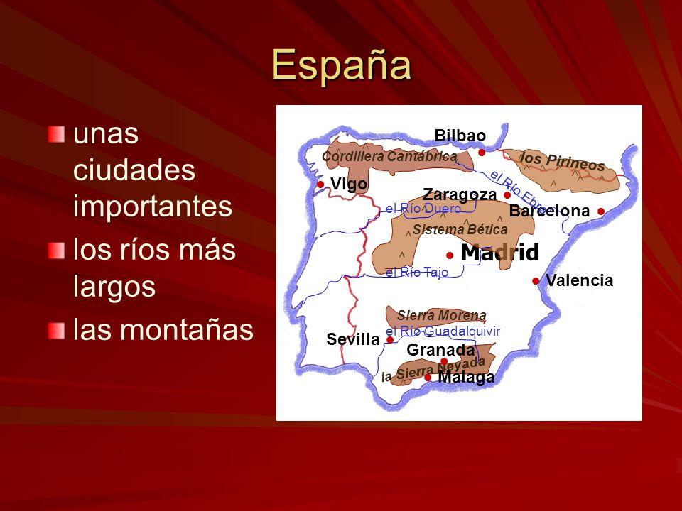 España unas ciudades importantes los ríos más largos las montañas