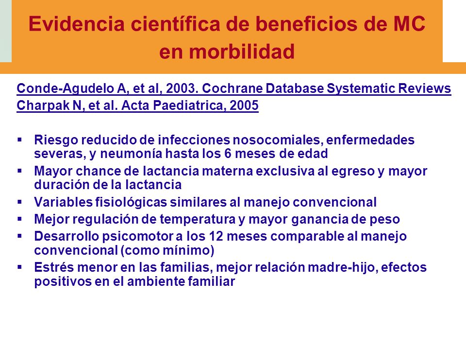 Evidencia científica de beneficios de MC en morbilidad