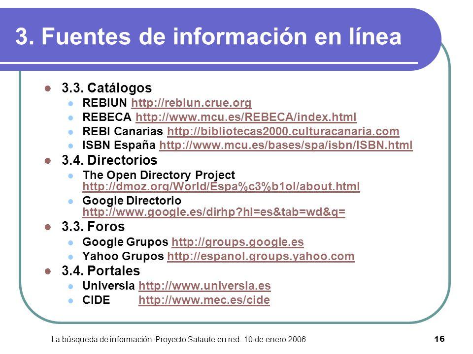 3. Fuentes de información en línea
