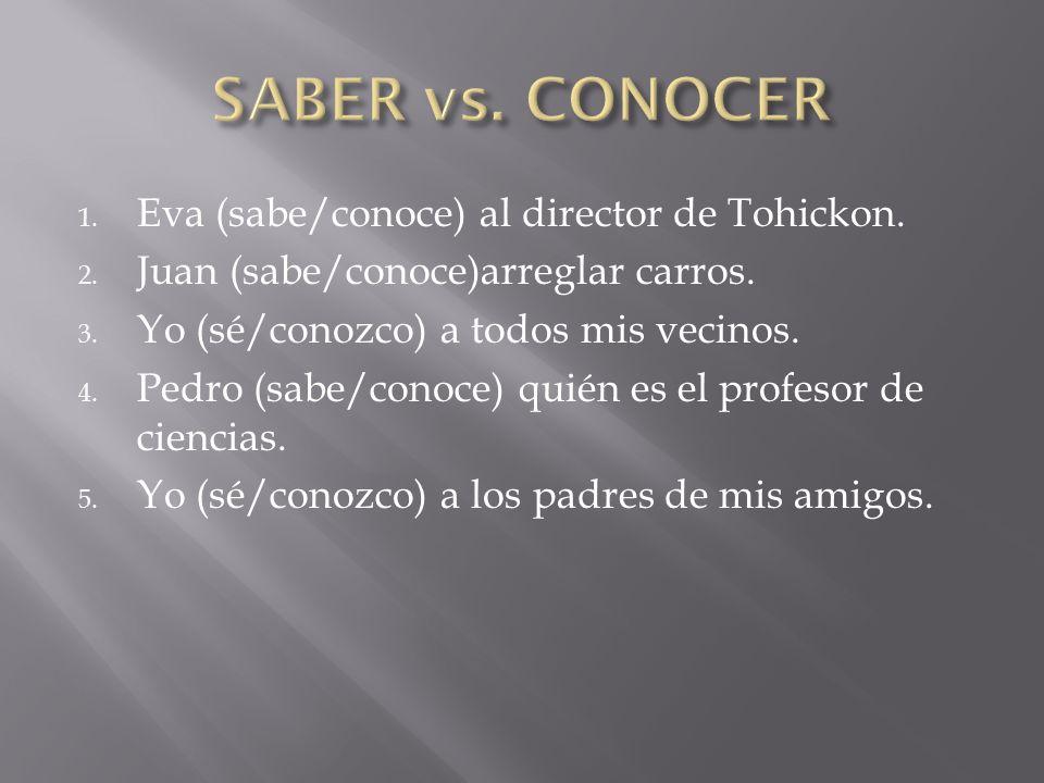 SABER vs. CONOCER Eva (sabe/conoce) al director de Tohickon.
