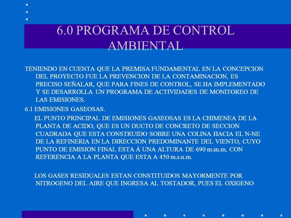6.0 PROGRAMA DE CONTROL AMBIENTAL