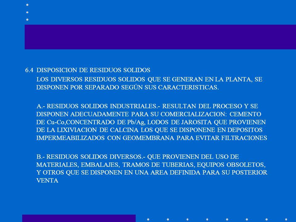 6.4 DISPOSICION DE RESIDUOS SOLIDOS