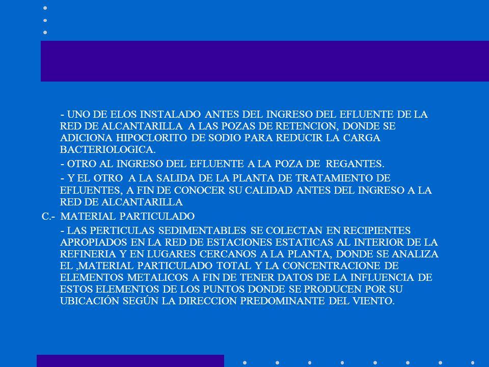 - UNO DE ELOS INSTALADO ANTES DEL INGRESO DEL EFLUENTE DE LA RED DE ALCANTARILLA A LAS POZAS DE RETENCION, DONDE SE ADICIONA HIPOCLORITO DE SODIO PARA REDUCIR LA CARGA BACTERIOLOGICA.
