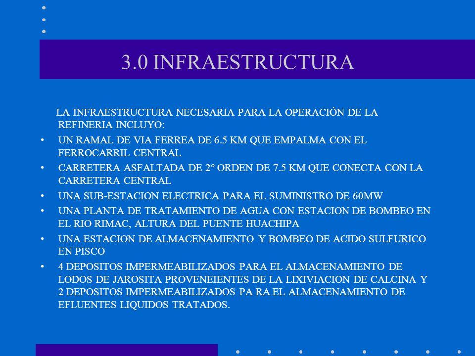 3.0 INFRAESTRUCTURA LA INFRAESTRUCTURA NECESARIA PARA LA OPERACIÓN DE LA REFINERIA INCLUYO: