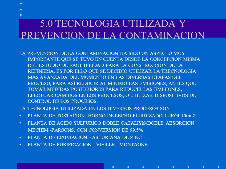 5.0 TECNOLOGIA UTILIZADA Y PREVENCION DE LA CONTAMINACION