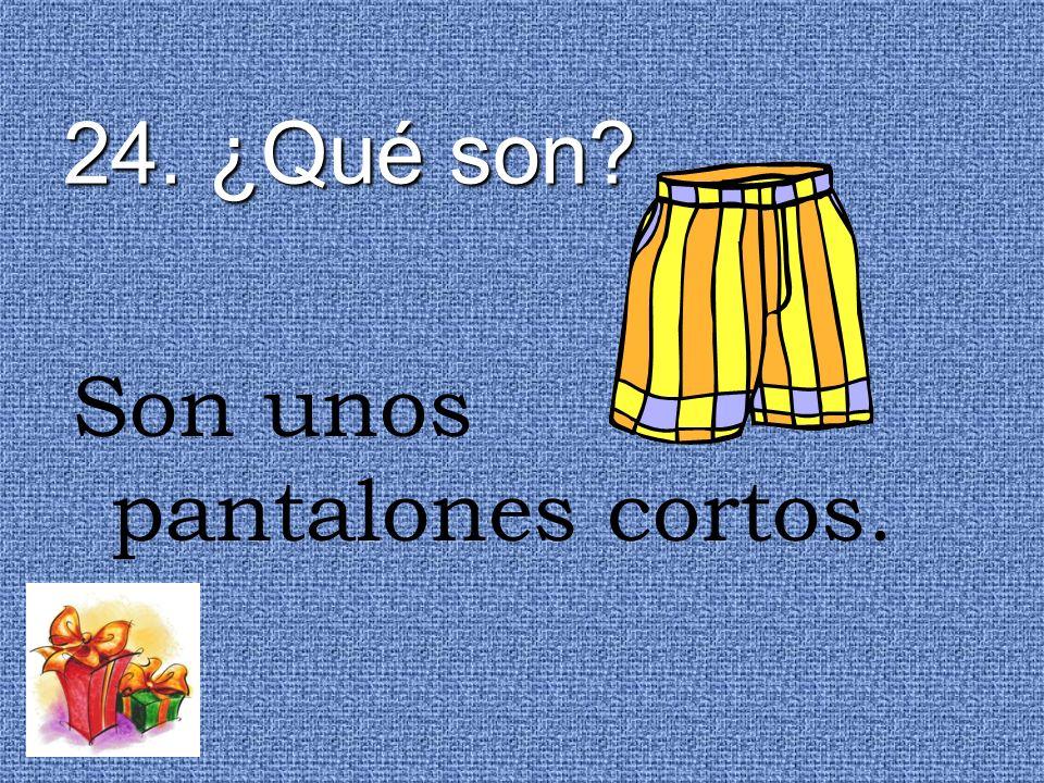 24. ¿Qué son Son unos pantalones cortos.