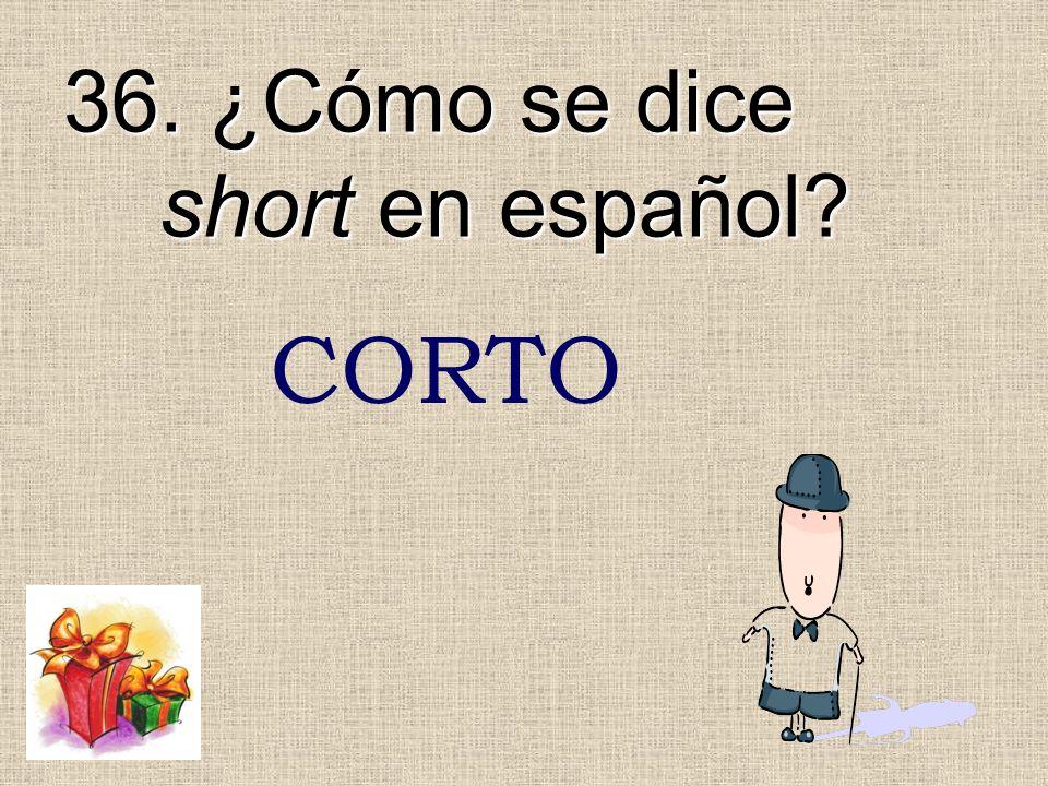 36. ¿Cómo se dice short en español