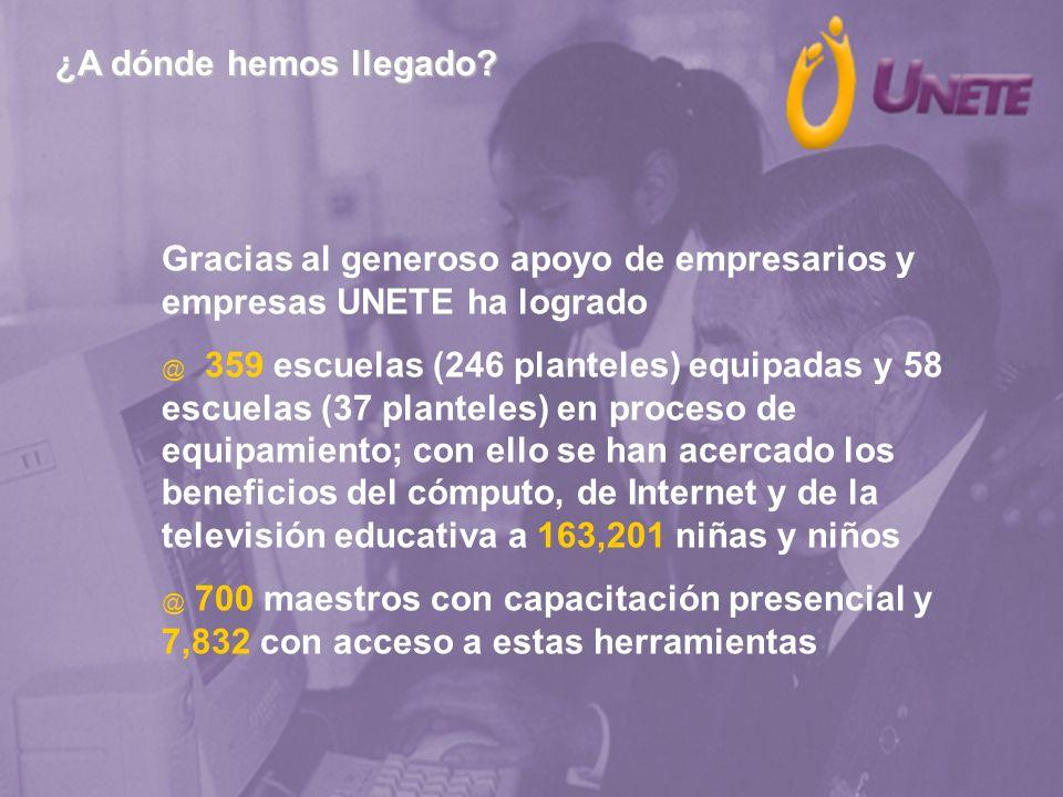 ¿A dónde hemos llegado Gracias al generoso apoyo de empresarios y empresas UNETE ha logrado.