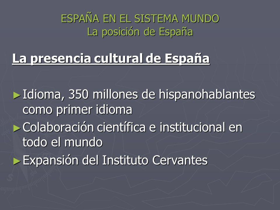 ESPAÑA EN EL SISTEMA MUNDO La posición de España