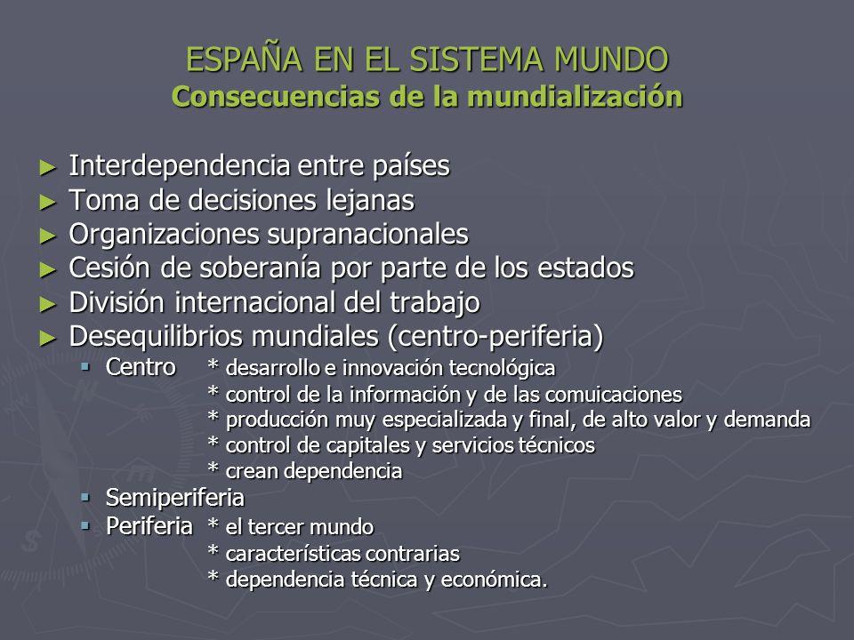 ESPAÑA EN EL SISTEMA MUNDO Consecuencias de la mundialización
