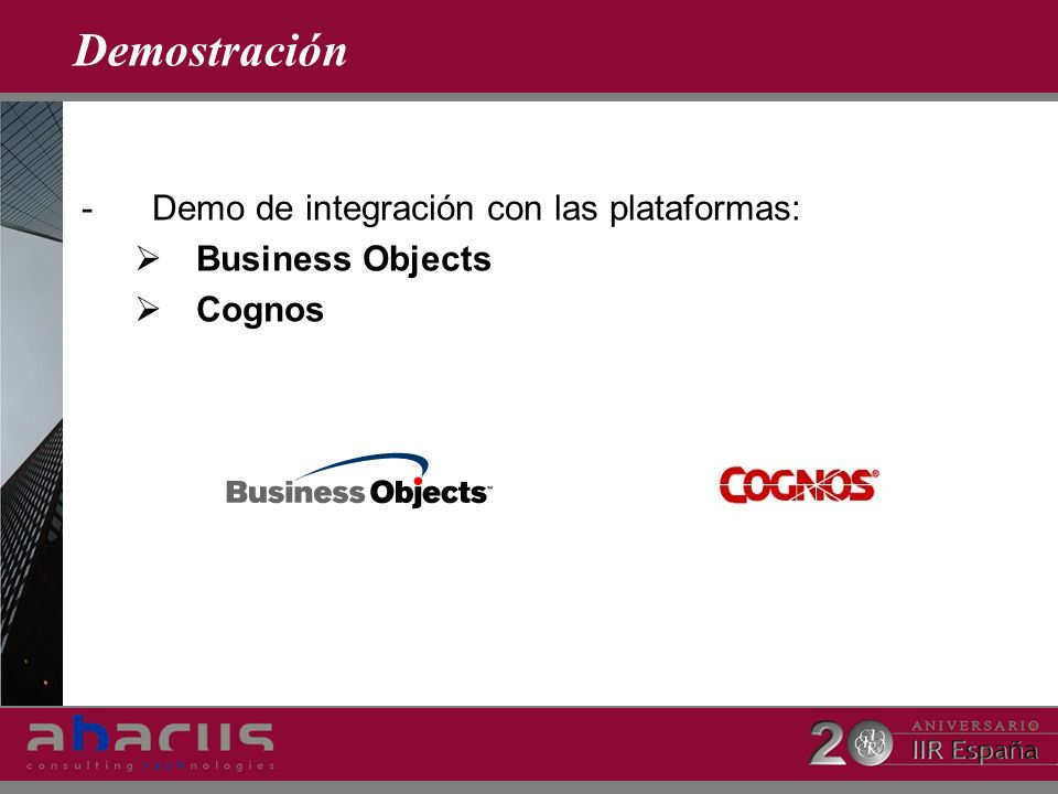 Demostración Demo de integración con las plataformas: Business Objects