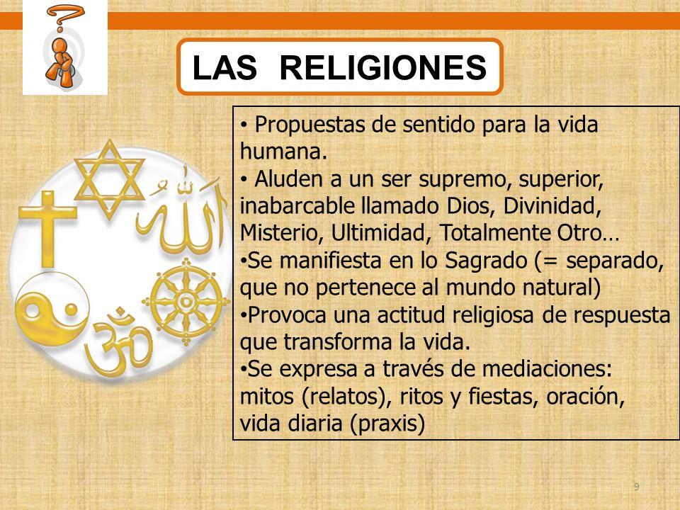 LAS RELIGIONES Propuestas de sentido para la vida humana.