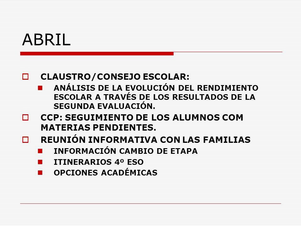 ABRIL CLAUSTRO/CONSEJO ESCOLAR: