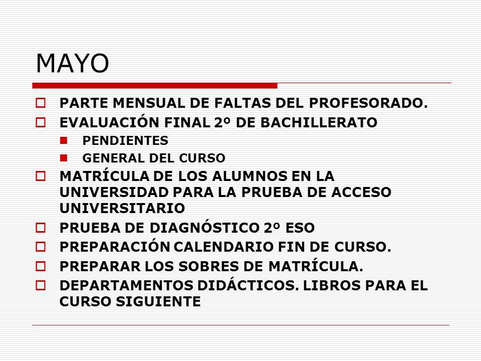 MAYO PARTE MENSUAL DE FALTAS DEL PROFESORADO.