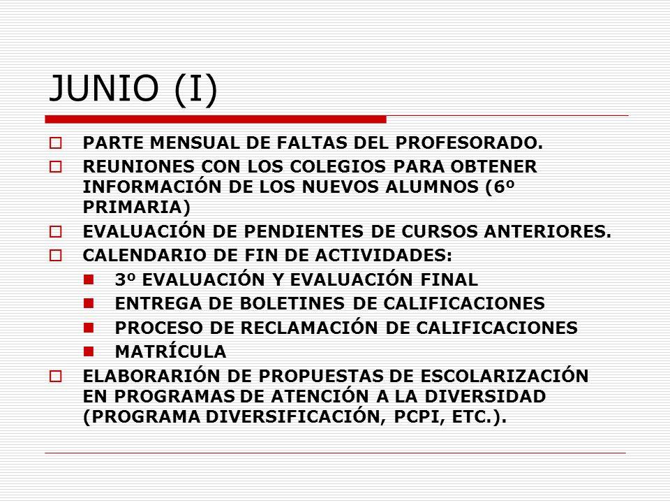 JUNIO (I) PARTE MENSUAL DE FALTAS DEL PROFESORADO.