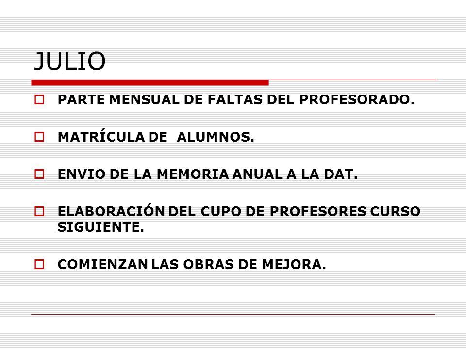 JULIO PARTE MENSUAL DE FALTAS DEL PROFESORADO. MATRÍCULA DE ALUMNOS.