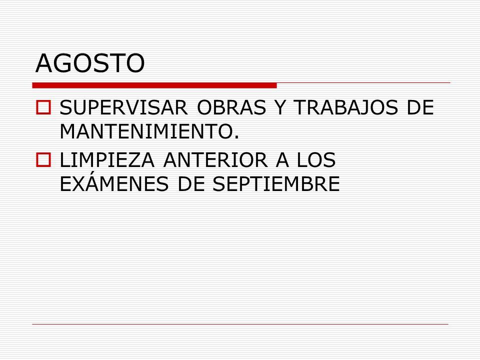 AGOSTO SUPERVISAR OBRAS Y TRABAJOS DE MANTENIMIENTO.