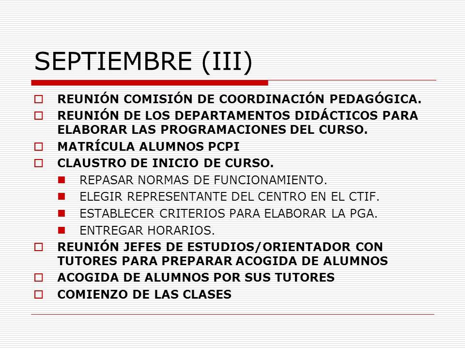 SEPTIEMBRE (III) REUNIÓN COMISIÓN DE COORDINACIÓN PEDAGÓGICA.