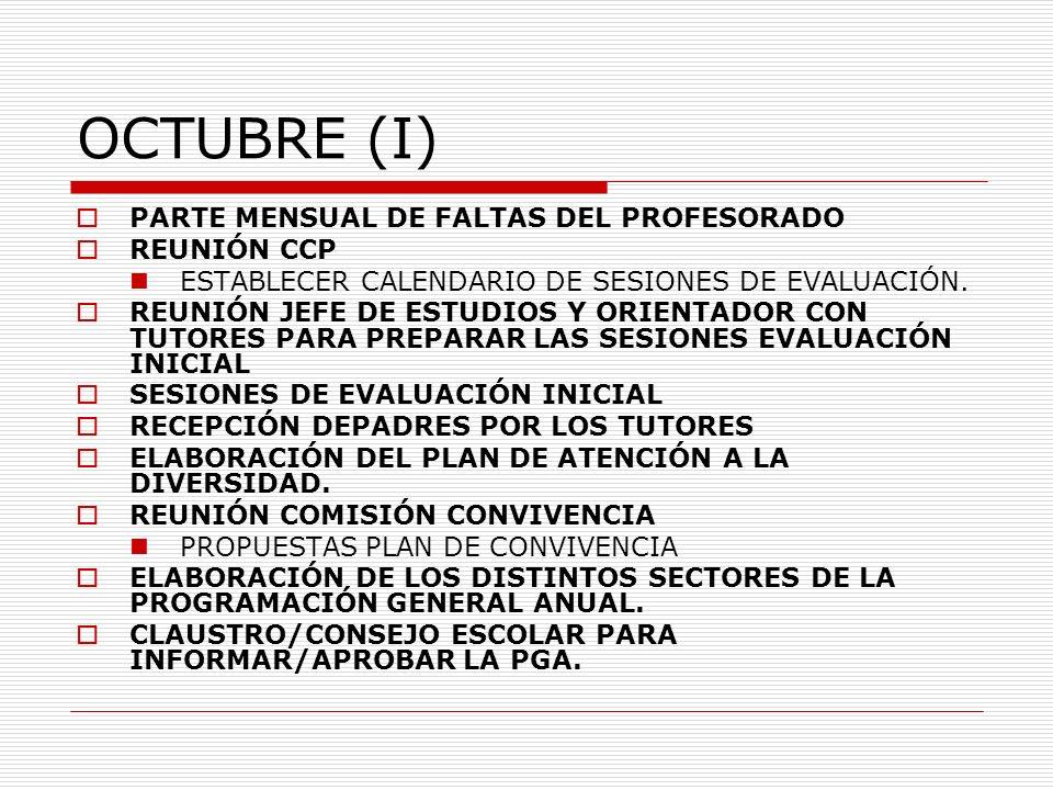 OCTUBRE (I) PARTE MENSUAL DE FALTAS DEL PROFESORADO REUNIÓN CCP