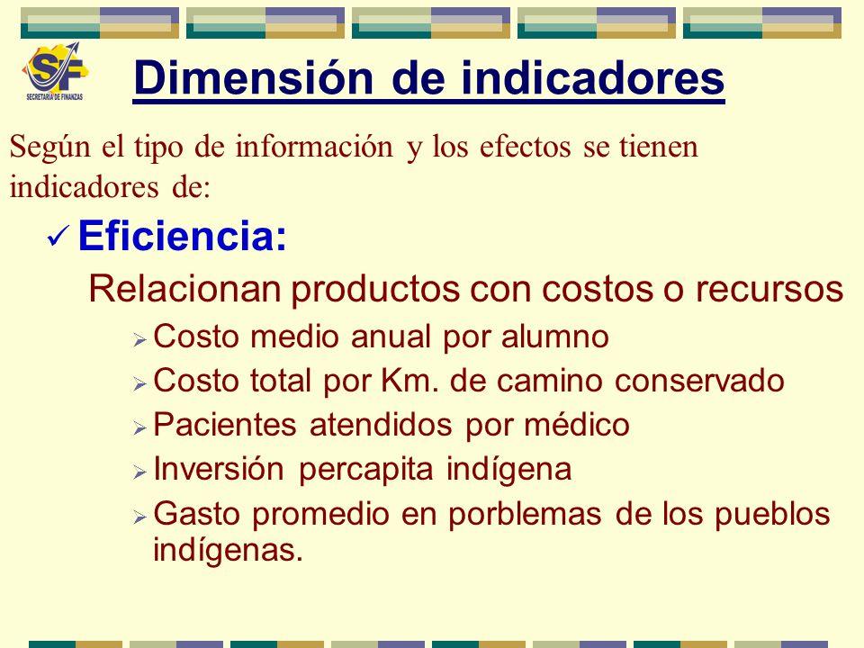 Dimensión de indicadores