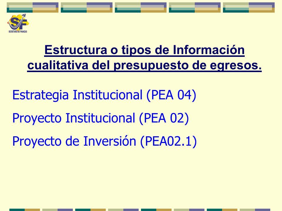Estrategia Institucional (PEA 04) Proyecto Institucional (PEA 02)