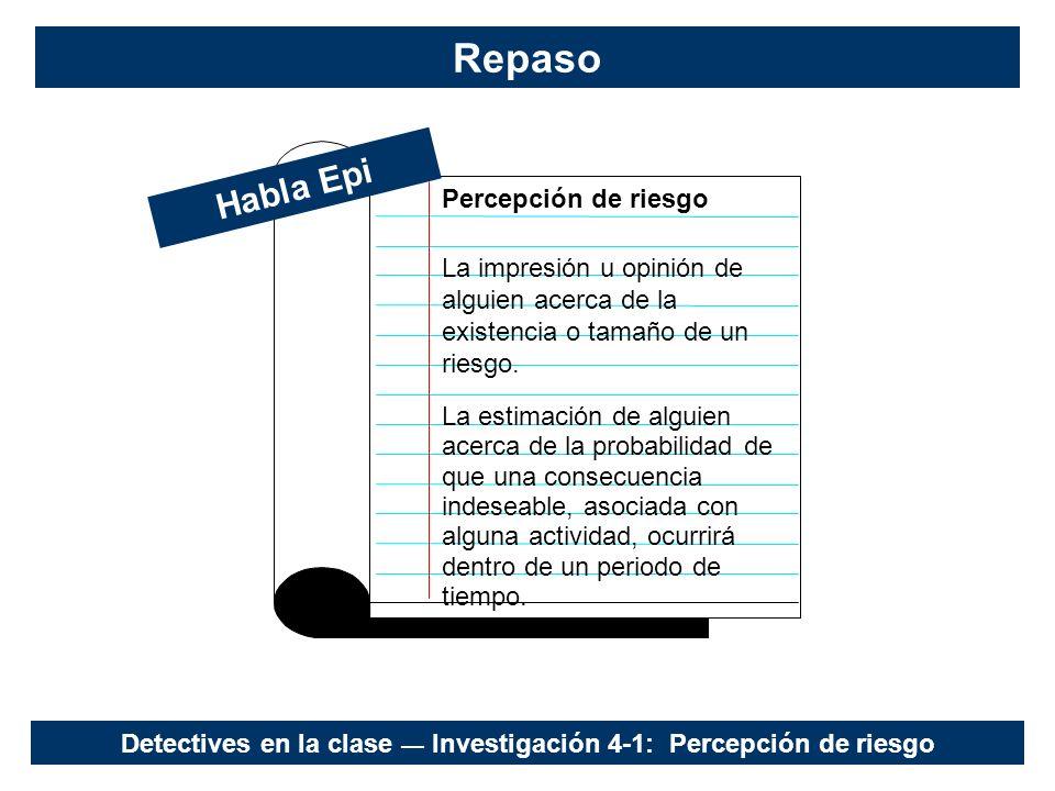 Detectives en la clase — Investigación 4-1: Percepción de riesgo