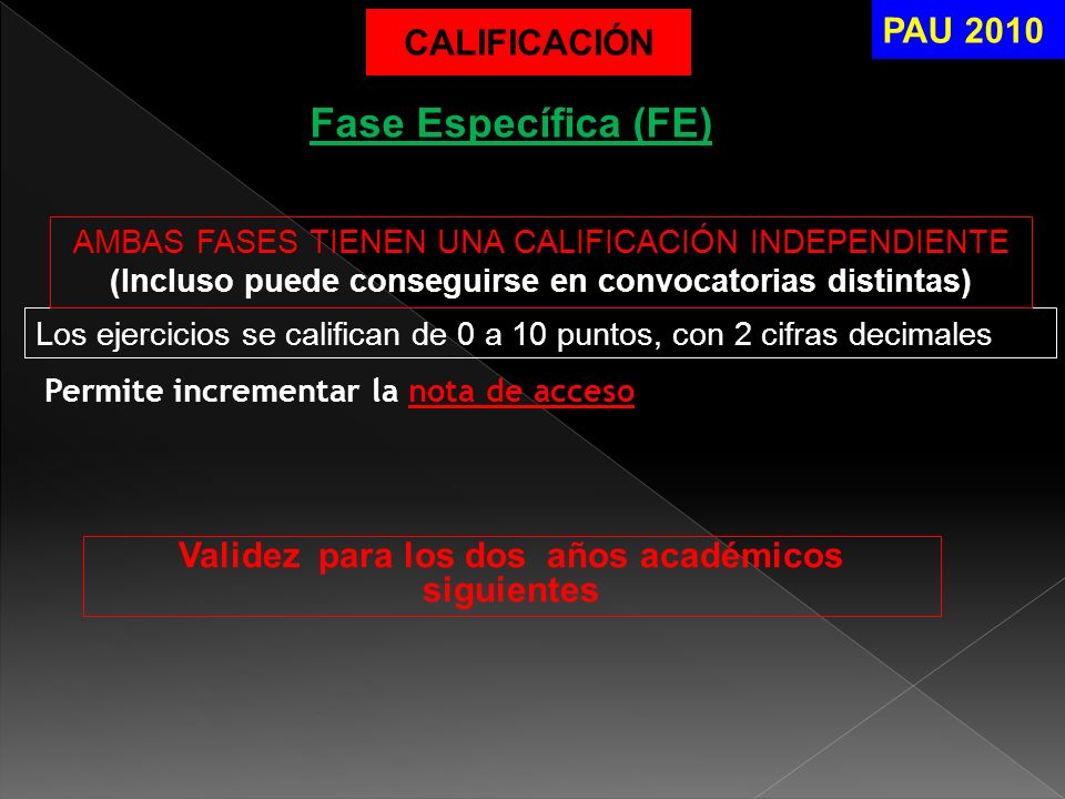 Fase Específica (FE) PAU 2010 CALIFICACIÓN