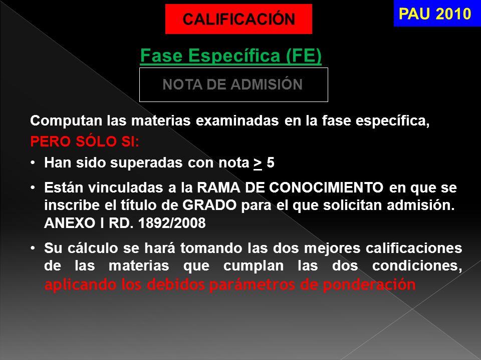 Fase Específica (FE) PAU 2010 CALIFICACIÓN NOTA DE ADMISIÓN