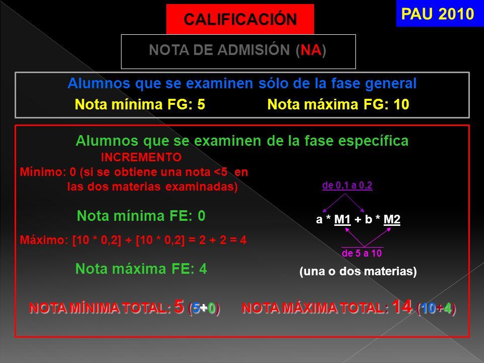 PAU 2010 CALIFICACIÓN NOTA DE ADMISIÓN (NA)