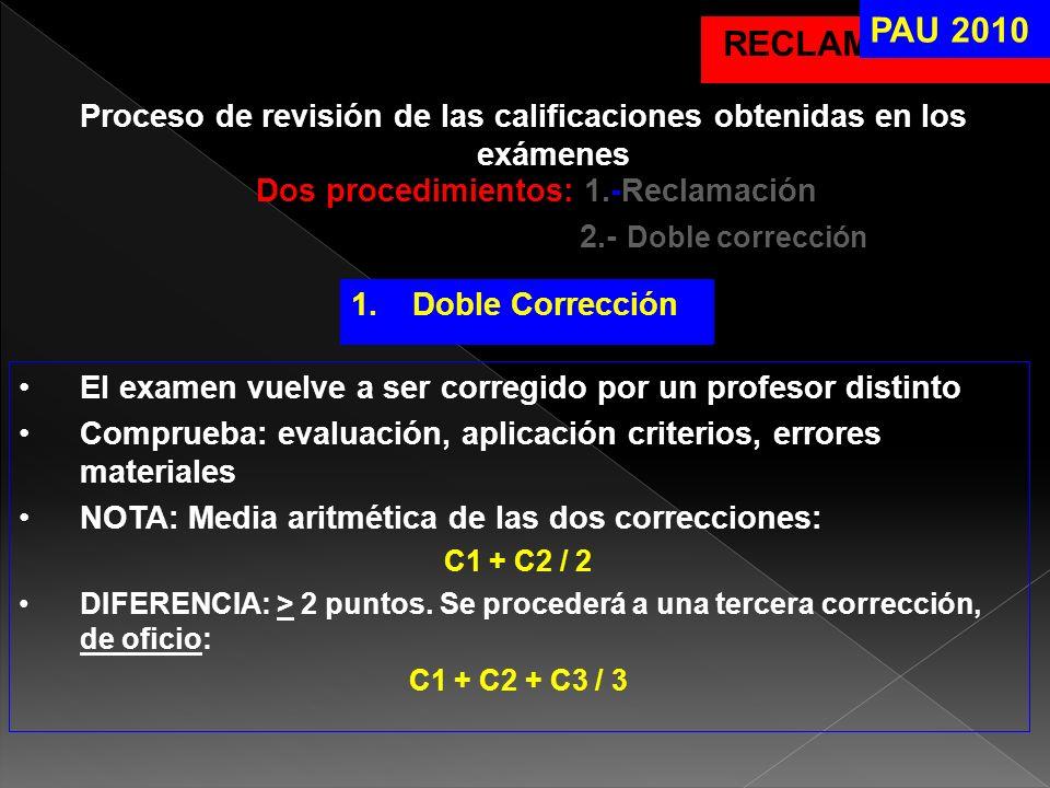 PAU 2010 RECLAMACIONES. Proceso de revisión de las calificaciones obtenidas en los exámenes. Dos procedimientos: 1.-Reclamación.