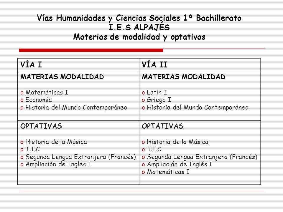 Vías Humanidades y Ciencias Sociales 1º Bachillerato I.E.S ALPAJÉS