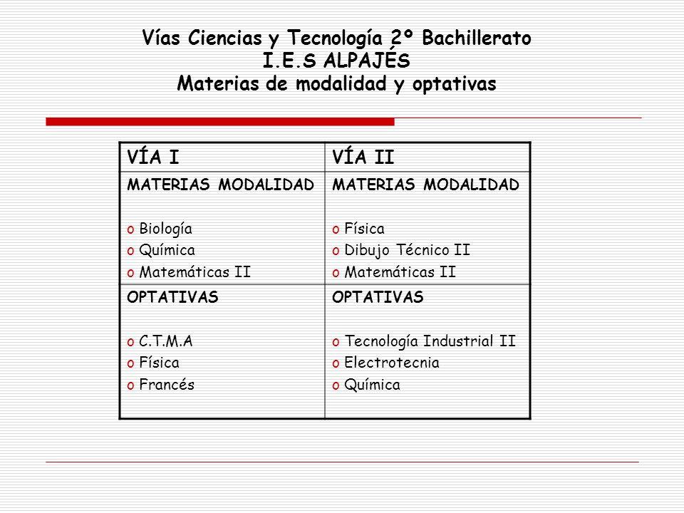 Vías Ciencias y Tecnología 2º Bachillerato I.E.S ALPAJÉS