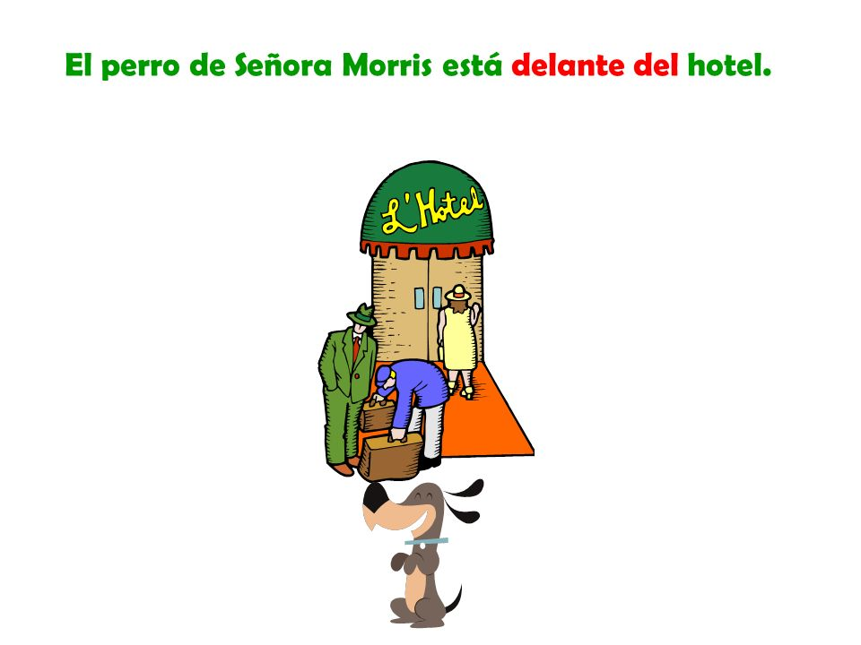 El perro de Señora Morris está delante del hotel.