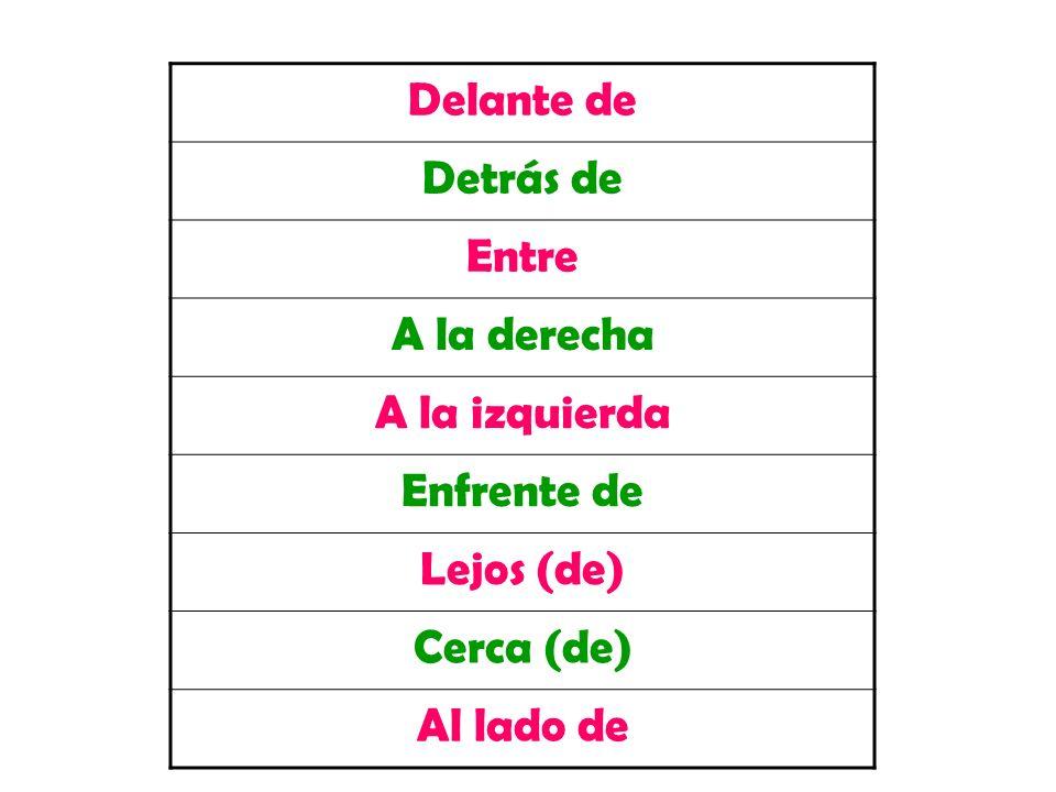 Delante de Detrás de Entre A la derecha A la izquierda Enfrente de Lejos (de) Cerca (de) Al lado de