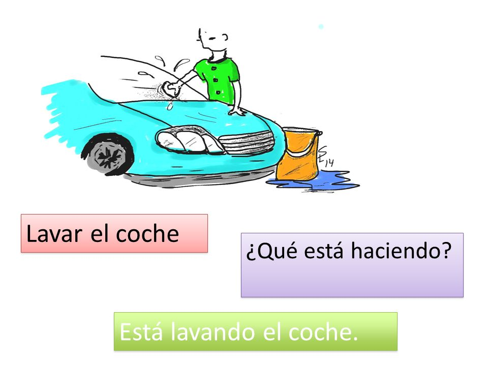 Lavar el coche ¿Qué está haciendo Está lavando el coche.