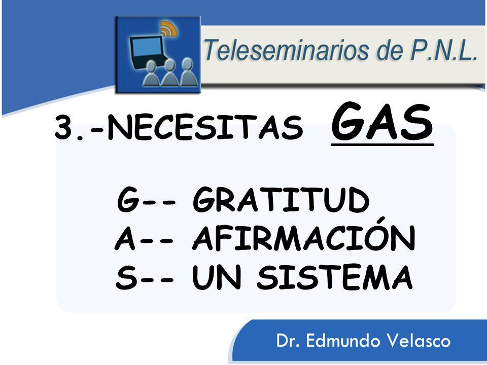 3.-NECESITAS GAS G-- GRATITUD A-- AFIRMACIÓN S-- UN SISTEMA