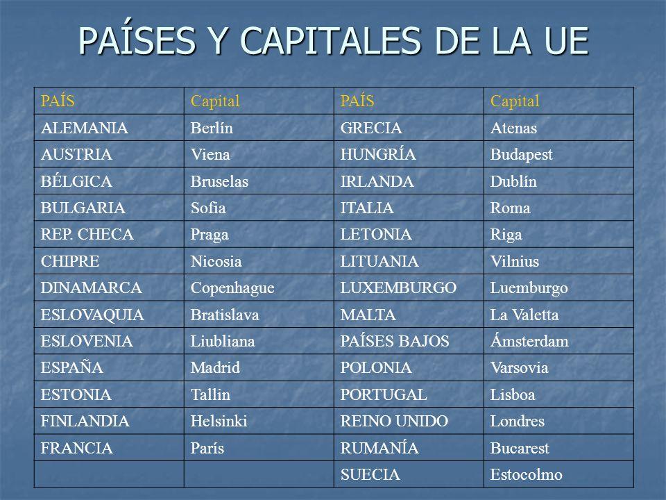 PAÍSES Y CAPITALES DE LA UE