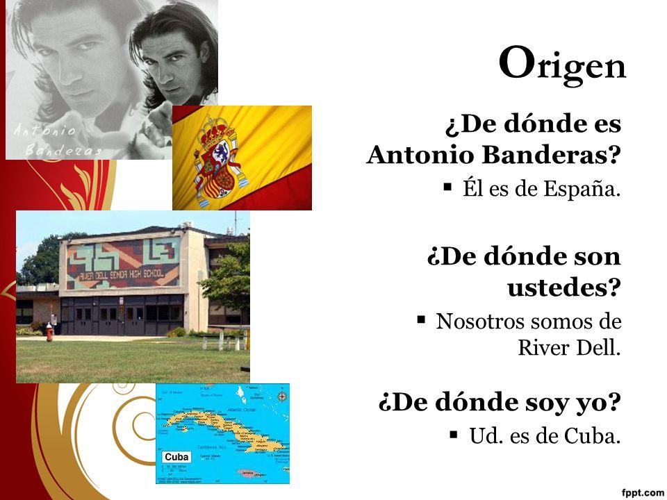 Origen ¿De dónde es Antonio Banderas ¿De dónde son ustedes