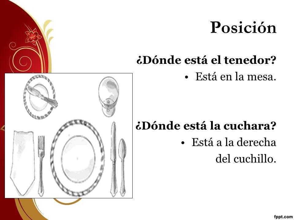 Posición ¿Dónde está el tenedor Está en la mesa.