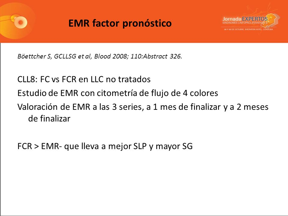 EMR factor pronóstico CLL8: FC vs FCR en LLC no tratados