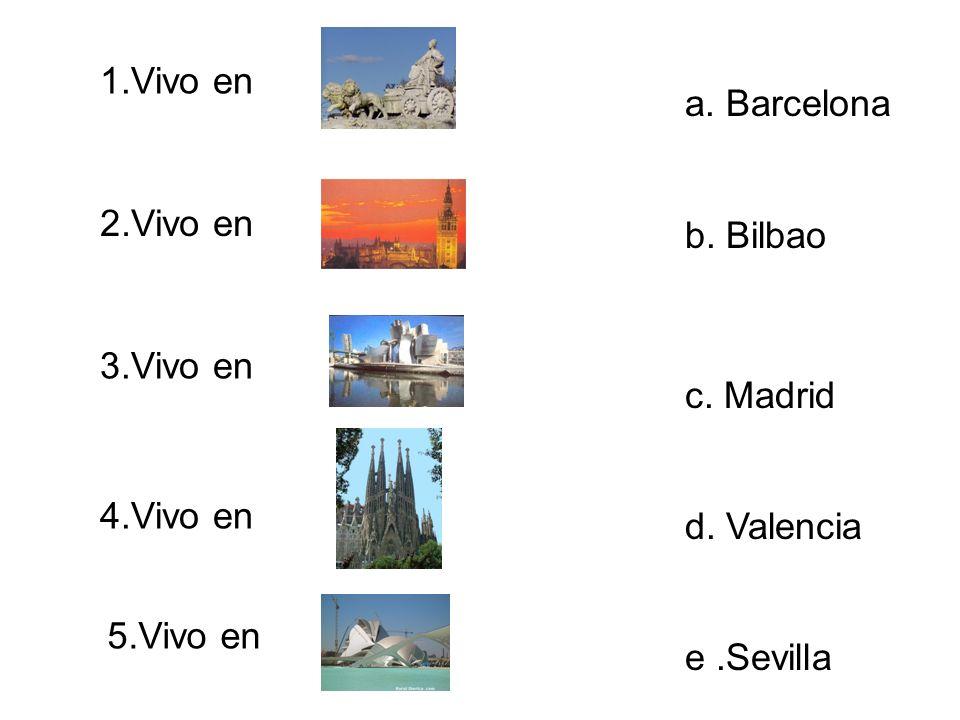 1.Vivo en a. Barcelona. b. Bilbao. c. Madrid. d. Valencia. e .Sevilla. 2.Vivo en. 3.Vivo en. 4.Vivo en.