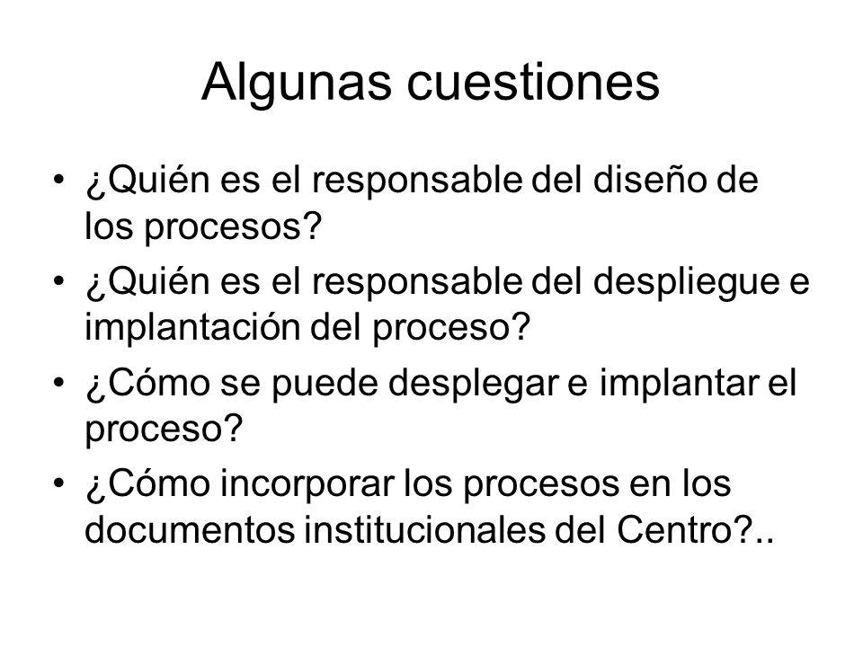 Algunas cuestiones ¿Quién es el responsable del diseño de los procesos ¿Quién es el responsable del despliegue e implantación del proceso